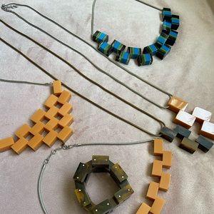 LOT OF 5 necklaces geometric square beads orange